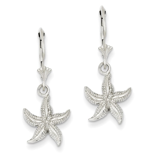 14 Karat White Gold Starfish Leverback Earrings By Versil On Free Shipping Today 12206831