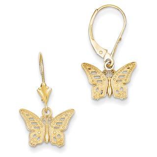 14k Butterfly Leverback Earrings by Versil
