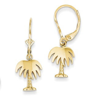 14k Palm Tree Leverback Earrings by Versil