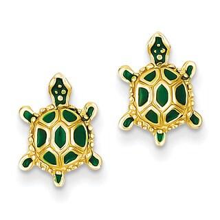 14k Green Enameled Turtle Post Earrings by Versil