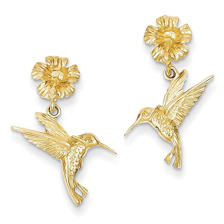14k Hummingbird Dangles from Flower Post Earrings by Vers...