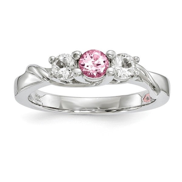 ea04165d1 Sterling Silver Clear and Pink Swarovski Topaz Joanna Ring, Part of the  Survivor Collection by
