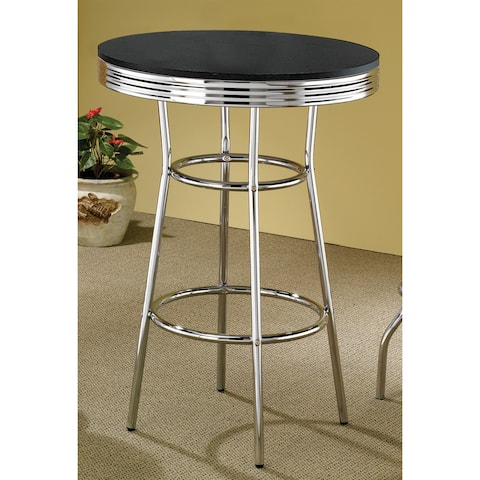 "Porch & Den Amelia Silver Metal and Wood Bar Table - 41.75"" x 30"""