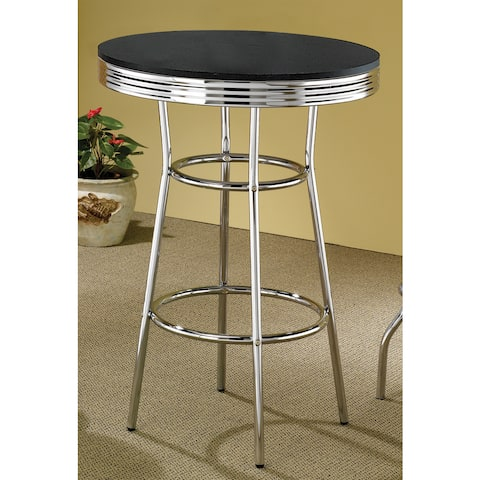 """Porch & Den Amelia Silver Metal and Wood Bar Table - 41.75"""" x 30"""""""