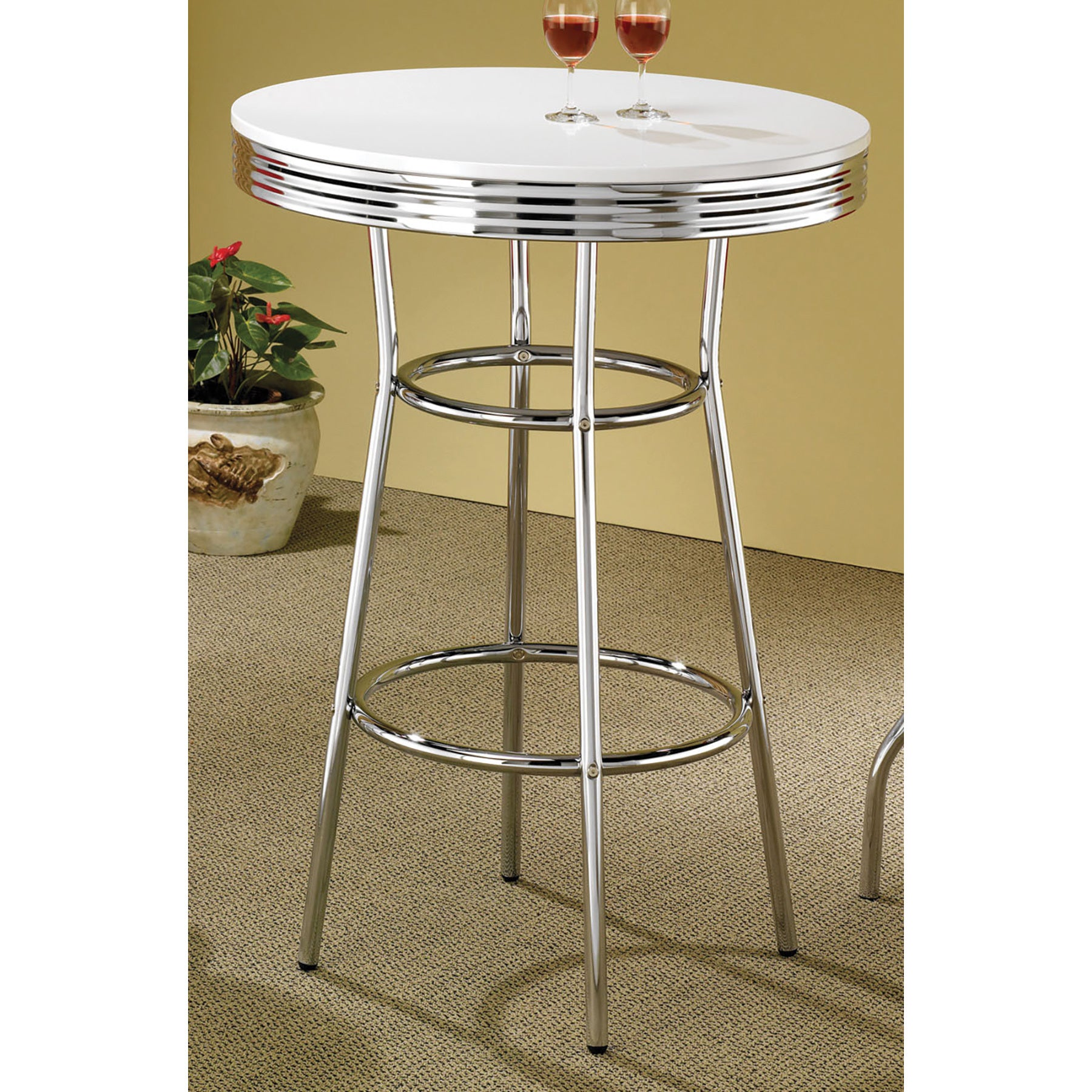 Coaster Furniture Retro Chrome Finish Bar Table (BAR Tabl...