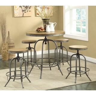 Coaster Company Antiqued Metal Brown Veneer Bar Table