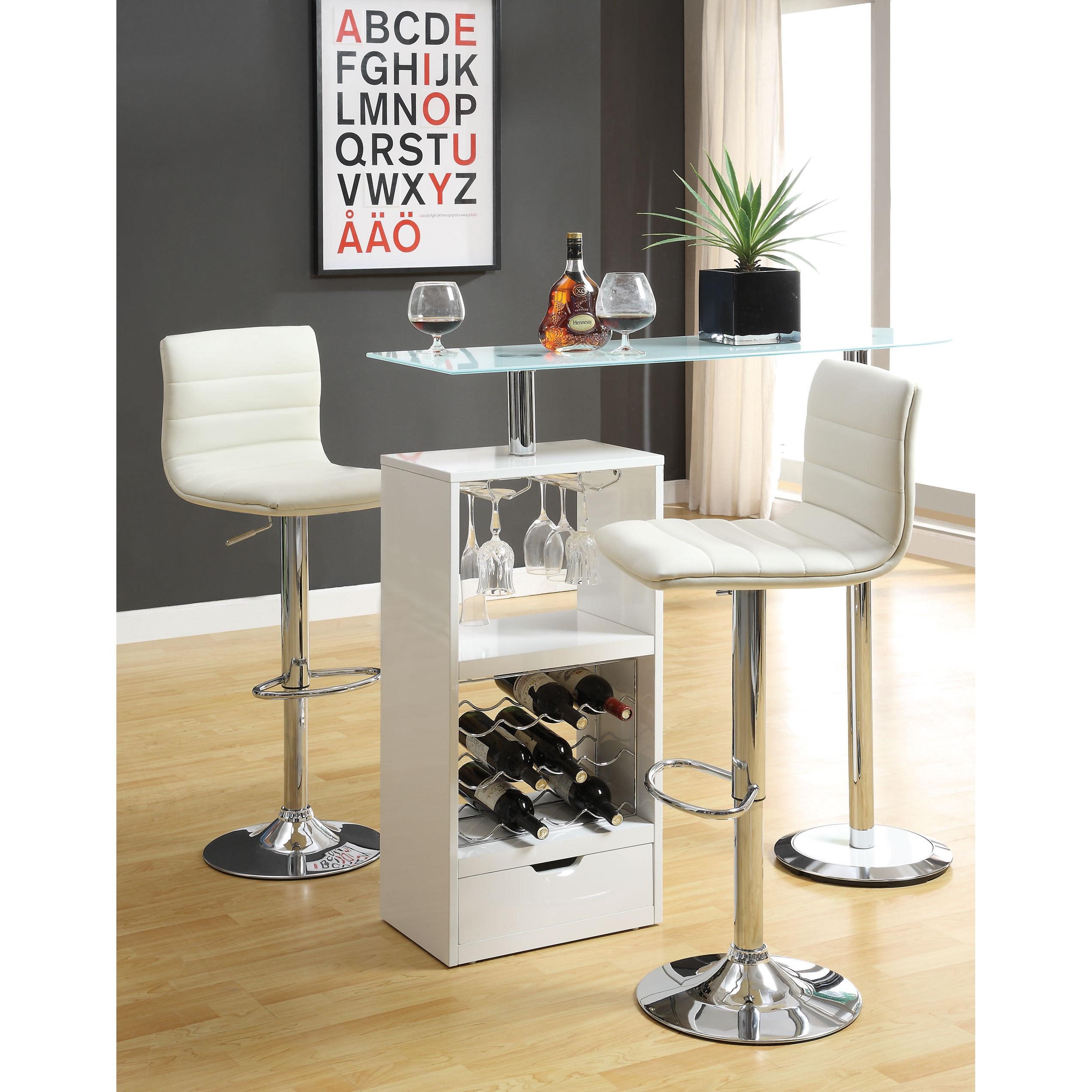Coaster Company Metal/ Glass White Storage Shelf Bar Table