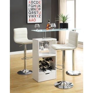 Coaster Metal/ Glass White Storage Shelf Bar Table