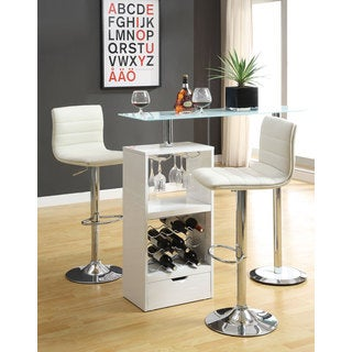 Coaster Company Metal/ Glass White Storage Shelf Bar Table