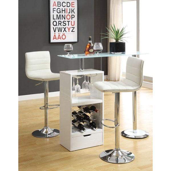 Clay Alder Home Lincoln Hwy Metal/ Glass White Storage Shelf Bar Table