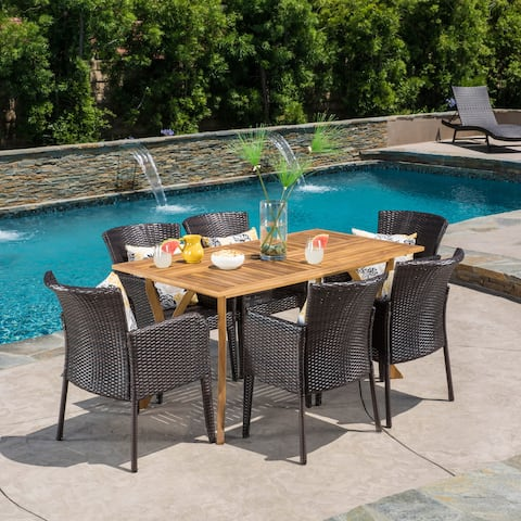 Henaya Outdoor 7-piece Wood Dining Set by Christopher Knight Home