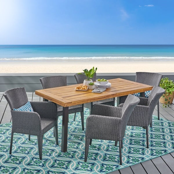 Denaya Outdoor 7-piece Wood Dining Set by Christopher Knight Home