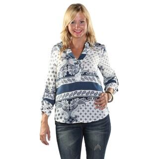 Hadari Women Long Sleeve V-Neck Shirt