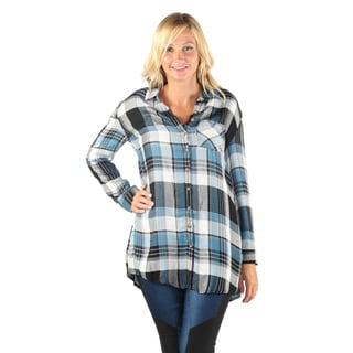 Hadari Women Long Sleeve Button Down Flannel