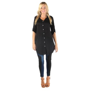 Hadari Women Mid-Length Button Down Long Shirt