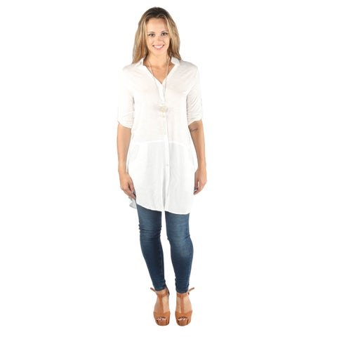 Hadari Women Mid-Length Sleeve Button Down Long Blouse