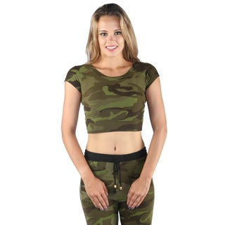 Hadari Women Cap Sleeve Round Neck Army Print Crop Top