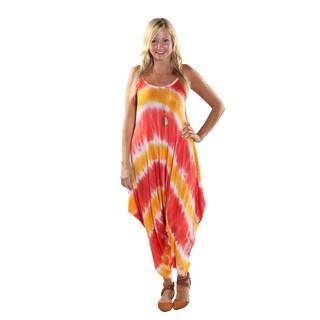 Hadari Women's Orange Tie Dye Round Neckline Sphagetti Strap Parachute Pant Jumpsuit