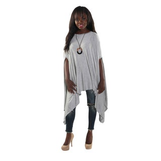 Hadari Women's Round Neckline Loose Batwing Sleeve Casual Grey Top
