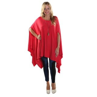 Hadari Women's Round Neckline Loose Batwing Sleeve Casual Red Top