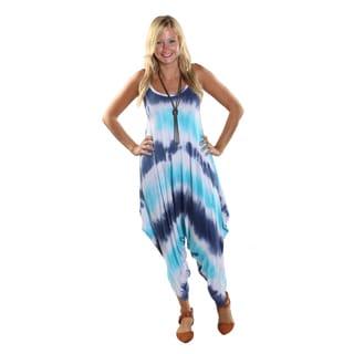 Hadari Women's Blue Tie Dye Round Neckline Sphagetti Strap Parachute Pant Jumpsuit
