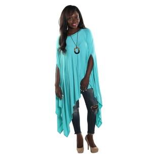 Hadari Women's Round Neckline Loose Batwing Sleeve Casual Jade Top
