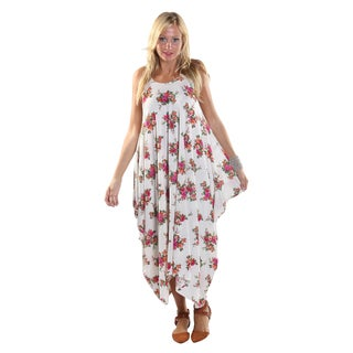 Hadari Women's Sleeveless Round Neckline Maxi White Tent Dress with flower print