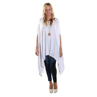 Hadari Women's Round Neckline Loose Batwing Sleeve Casual White Top