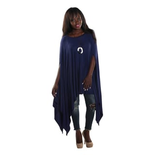 Hadari Women's Round Neckline Loose Batwing Sleeve Casual Navy Top
