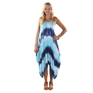 Hadari Women's Mid Round Neckline Tank Blue Tie Dye Tent Dress with Triangular Hemline