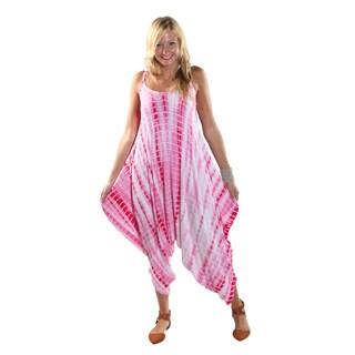 Hadari Women's Pink Tie Dye Round Neckline Sphagetti Strap Parachute Pant Jumpsuit