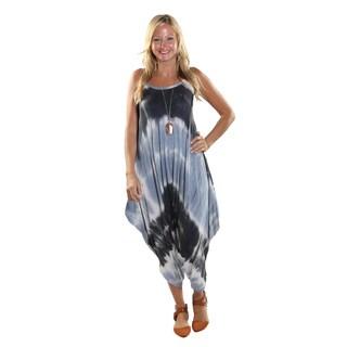 Hadari Women's BlackTie Dye Round Neckline Sphagetti Strap Parachute Pant Jumpsuit
