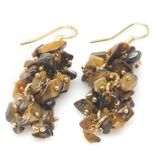 14k Yellow Goldplated Genuine Tiger's Eye Cluster Earrings