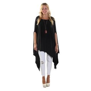 Hadari Women's Round Neckline Loose Batwing Sleeve Casual Black Top