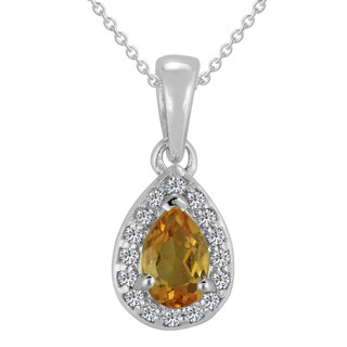 AALILLY Sterling Silver Pear Citrine Pendant Necklace