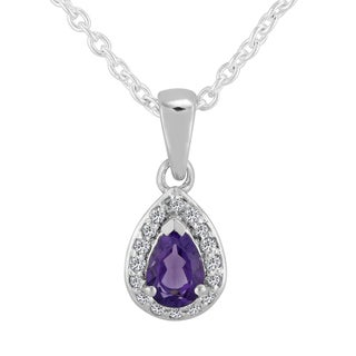 AALILLY Sterling Silver Pear Amethyst Pendant Necklace