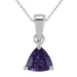 AALILLY Sterling Silver Trillion Amethyst Pendant Necklace