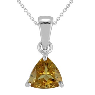 AALILLY Sterling Silver Trillion Citrine Pendant Necklace
