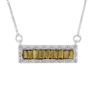 Sterling Silver Baguette Citrine and White Topaz Pendant Necklace