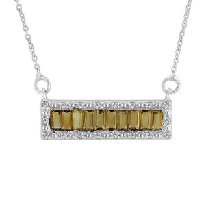 AALILLY Sterling Silver Baguette Citrine and White Topaz Pendant Necklace