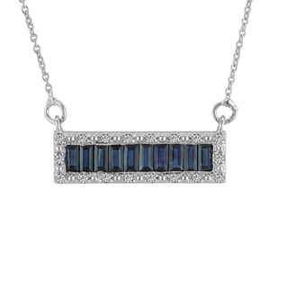 AALILLY Sterling Silver Baguette Blue Sapphire and White Topaz Pendant Necklace