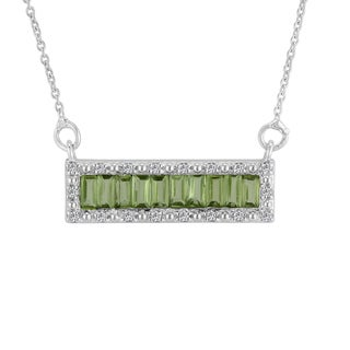 AALILLY Sterling Silver Baguette Peridot and White Topaz Pendant Necklace
