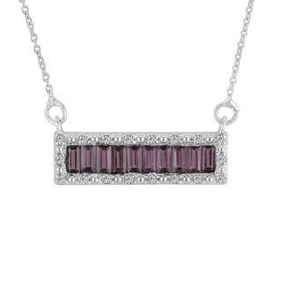 AALILLY Sterling Silver Baguette Rhodolite Garnet and White Topaz Pendant Necklace