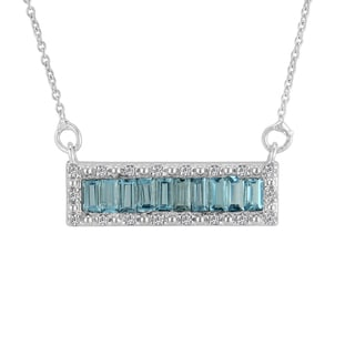 Sterling Silver Baguette Swiss Blue Topaz and White Topaz Pendant Necklace