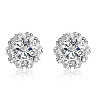 14k White Gold Genuine White Topaz Studs