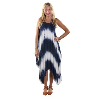 Hadari Women's Mid Round Neckline Tank Navy Tie Dye Tent Dress with Triangular Hemline