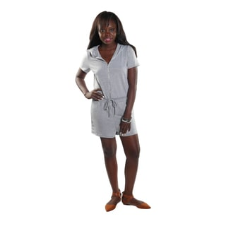 Hadari Women's Grey frontal zipdown Short Romper with Draw String Waistline and Hoodie.