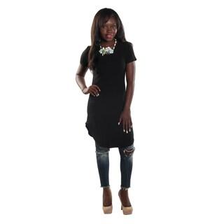 Hadari Women's High Round Neckline Short sleeve Knee High Shift Black Dress