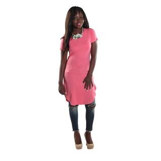 Hadari Women's High Round Neckline Short sleeve Knee High Shift Coral Dress