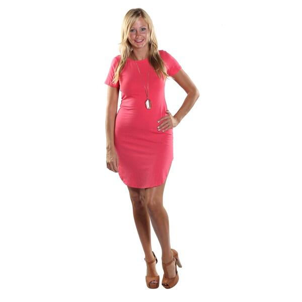 5b38f69433c3 Hadari Women's High Round Neckline Short sleeve Knee High Shift  Fuchsia Dress